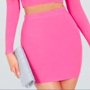 Pink skirt bodycon neon stretchy sexy tight club